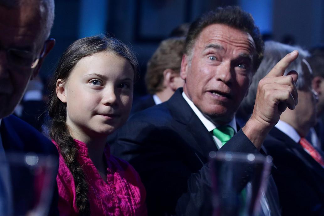 Greta Thunberg and Arnold Schwarzenegger   Kép: Reuters