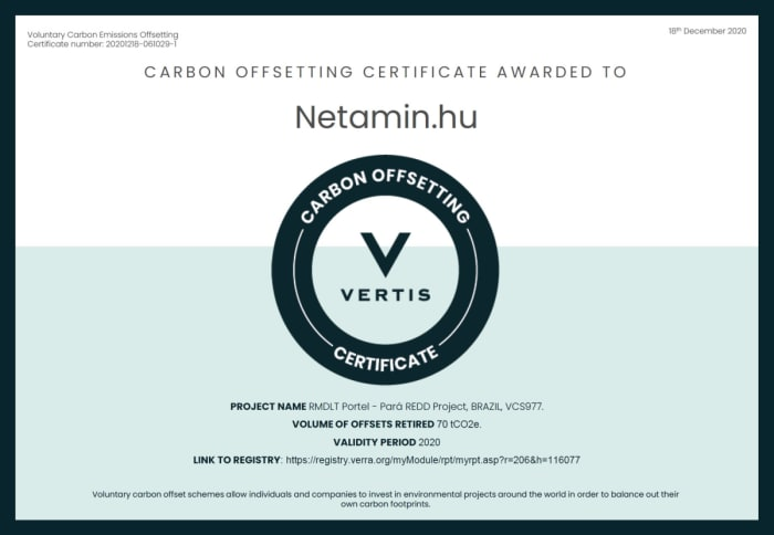 A Netamin lett az ország első teljesen karbonsemleges vitaminmárkája
