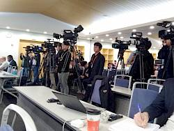 Az IPCC sajtótájékoztatója Incshonban | ClimeNews -Hírportál | Fotó: Ürge-Vorsatz Diana