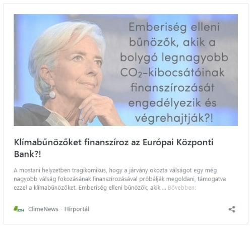 Klímabűnözőket finanszíroz az Európai Központi Bank?!   ClimeNews