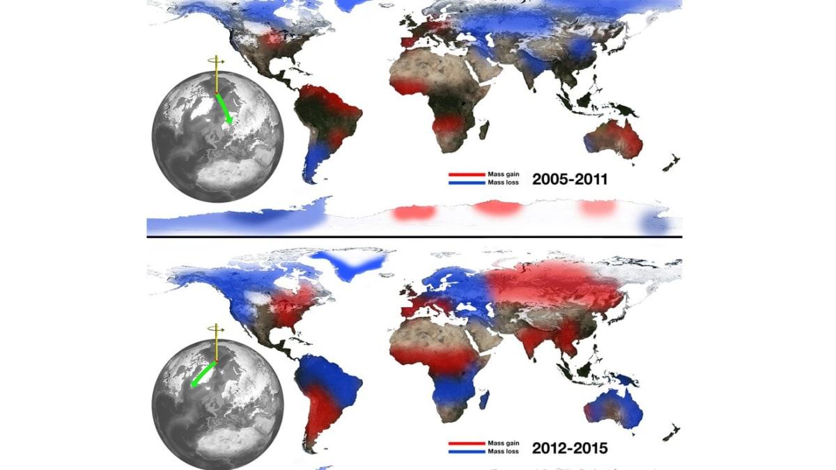 A kontinentális víztömeg és a Föld forgástengelyének kelet-nyugati irányú ingadozása