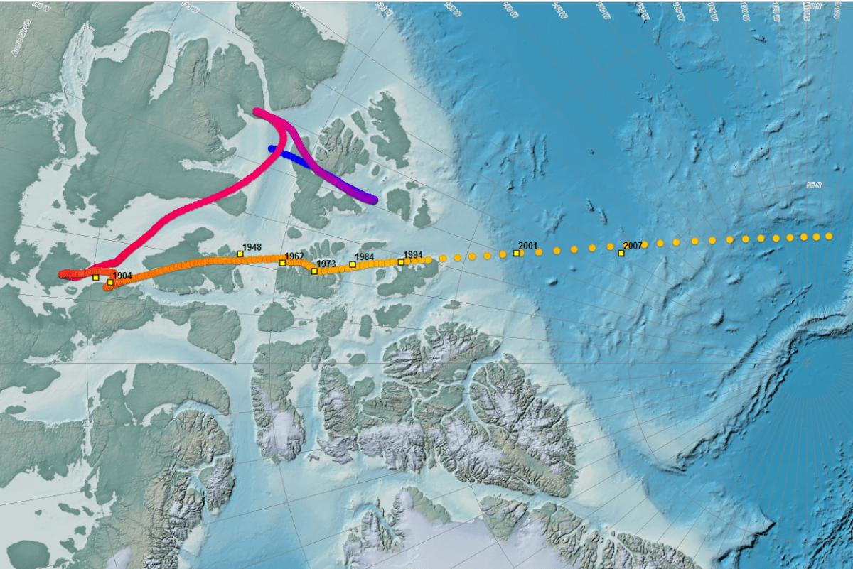 Az 1831 és 2007 között megfigyelt északi sarkok