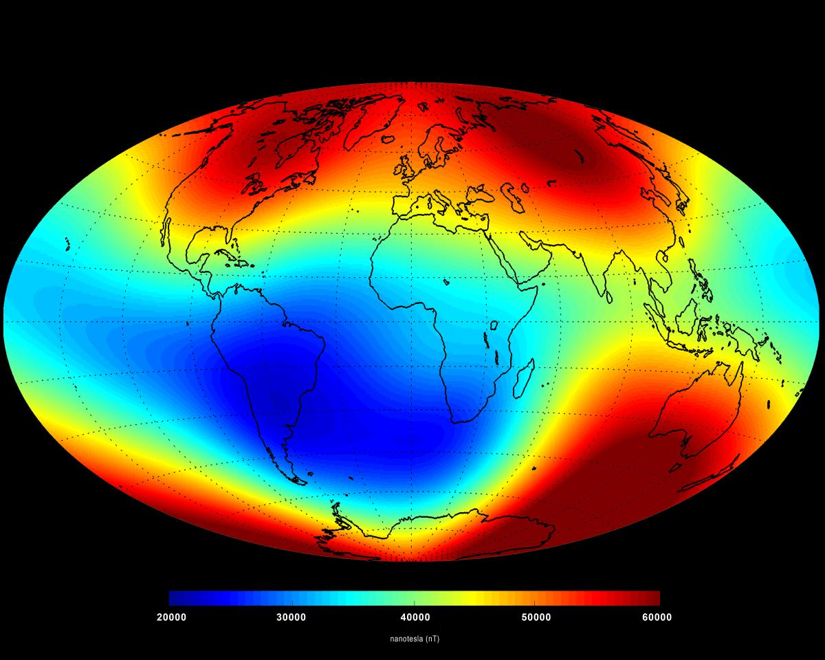 Föld mágneses terének átlagos erősségét mutatja