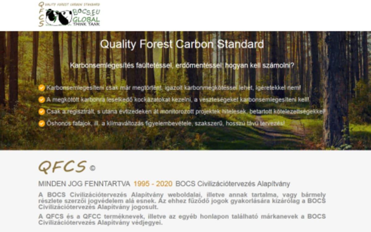 Quality Forest Carbon Standard - BOCS Civilizációtervezés Alapítvány