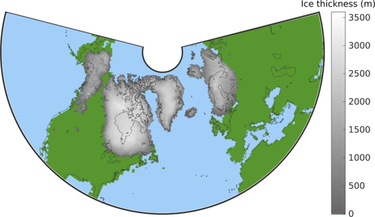 The world more than a million years ago. This graphic shows the maximum extent of Northern Hemisphere ice sheets during the first part of the Quaternary period, between about 2.7 million and 1 million years ago. Credit: M. Willeit