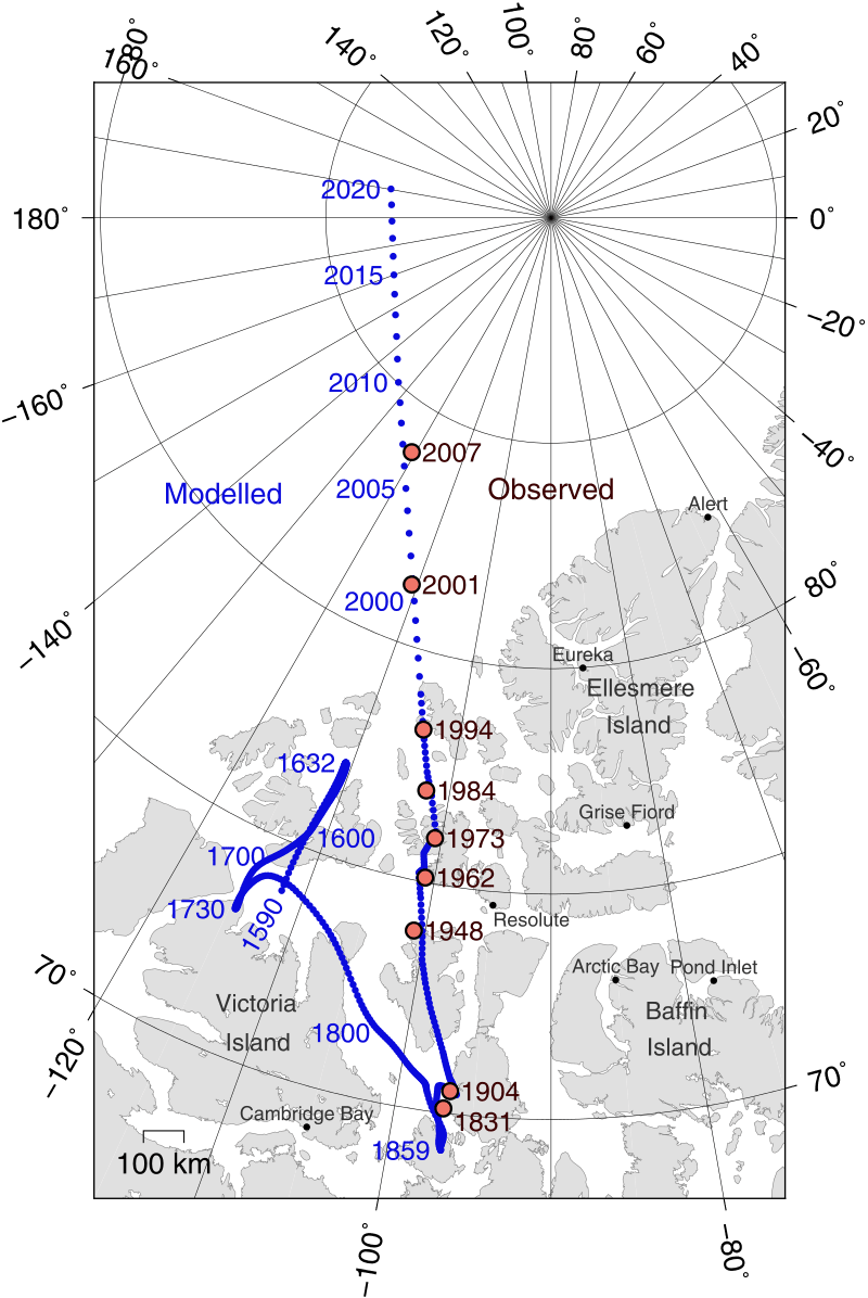 A Föld északi mágneses pólusának helyzete
