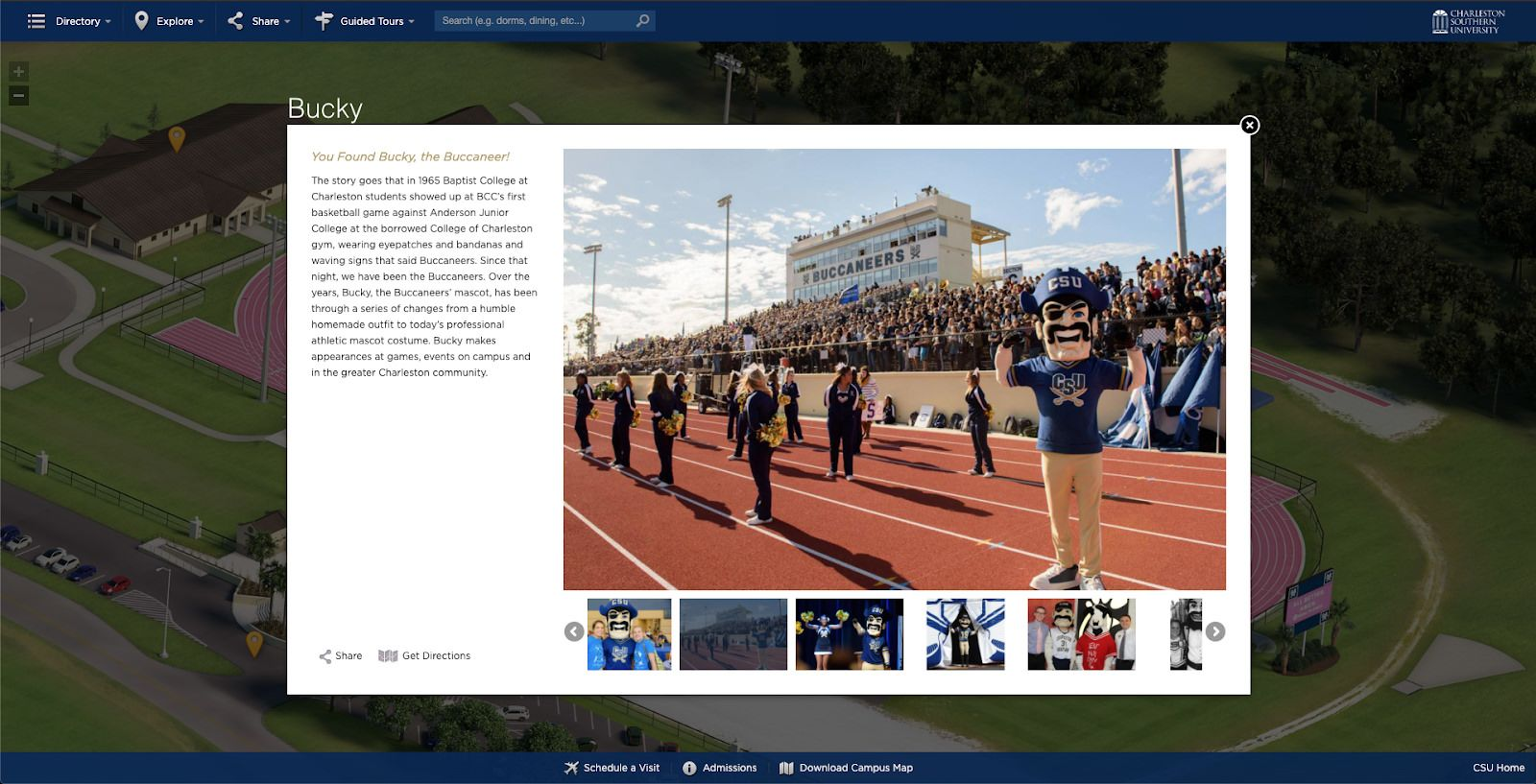 Charleston Southern University posts an image of cheerleaders and their mascot on the track with a cheering crowd of college students behind them.