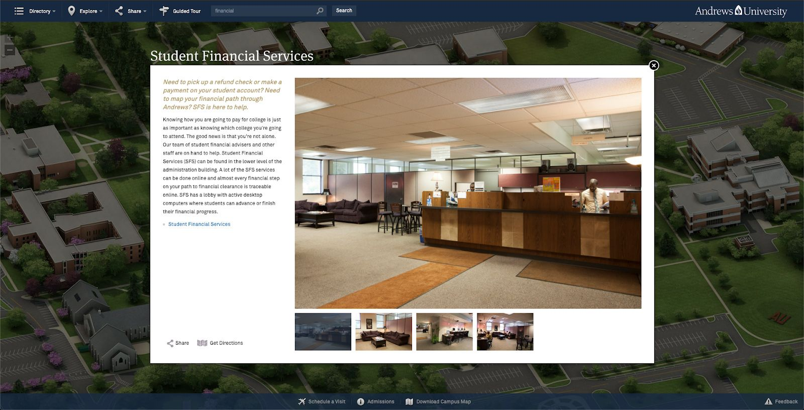 Andrews University posts pictures of their Student Financial Services office online.