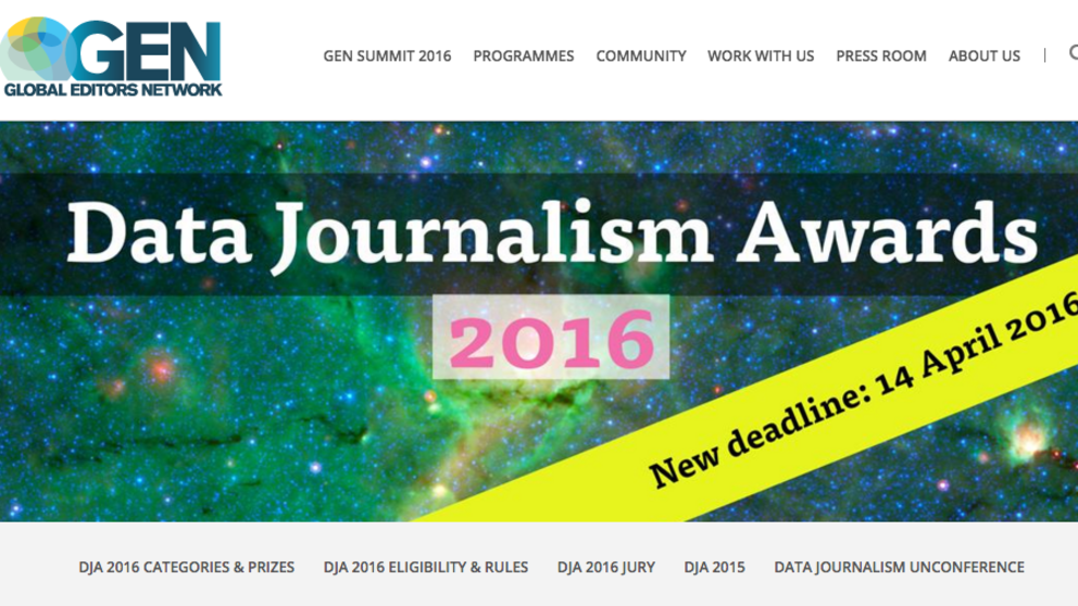 Last chance to submit your proposal to the Data Journalism Awards