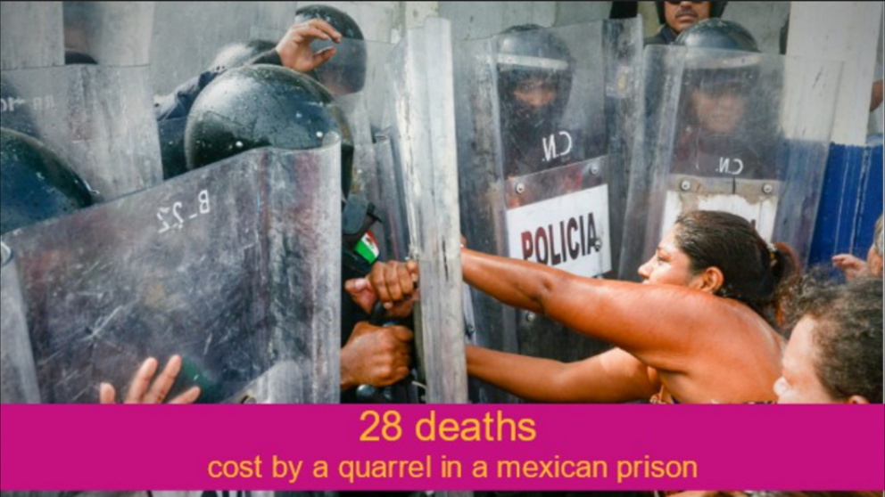 28 deaths cost by a quarrel in a mexican prison