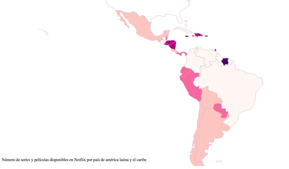 Mapa variedad a películas y series de Netflix  en Latino América