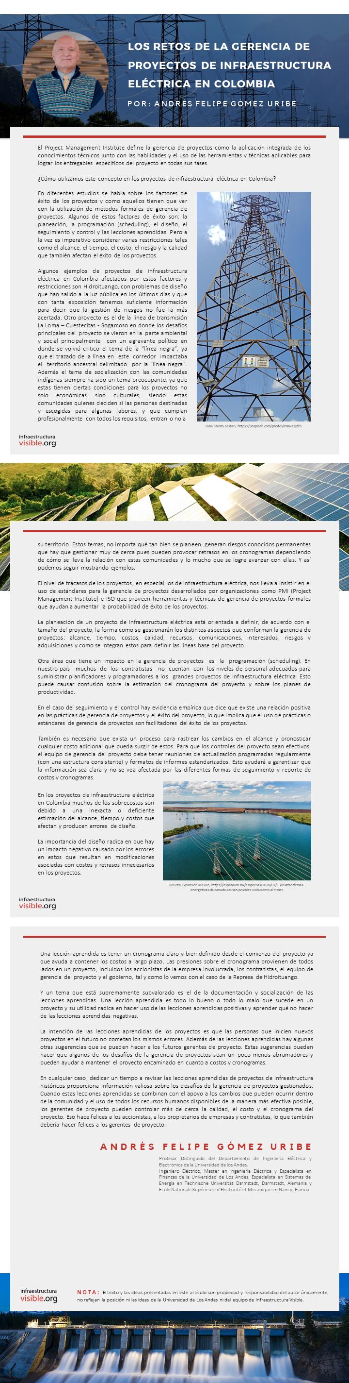 Los retos de la gerencia de proyectos de infraestructura eléctrica en Colombia