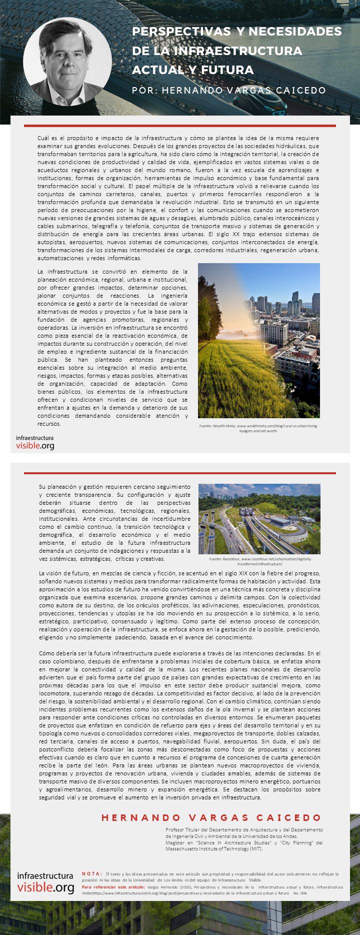 Perspectivas y necesidades de la  infraestructura actual y futura