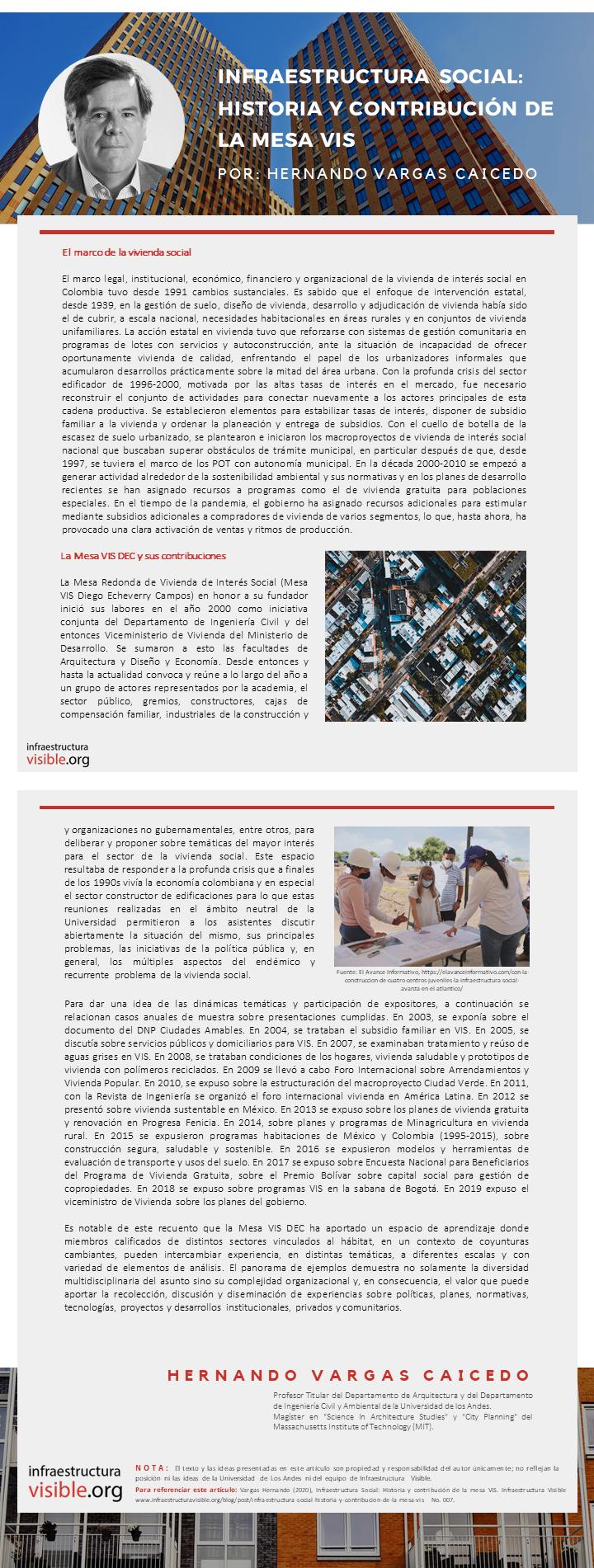 Infraestructura Social: Historia y contribución de la mesa VIS