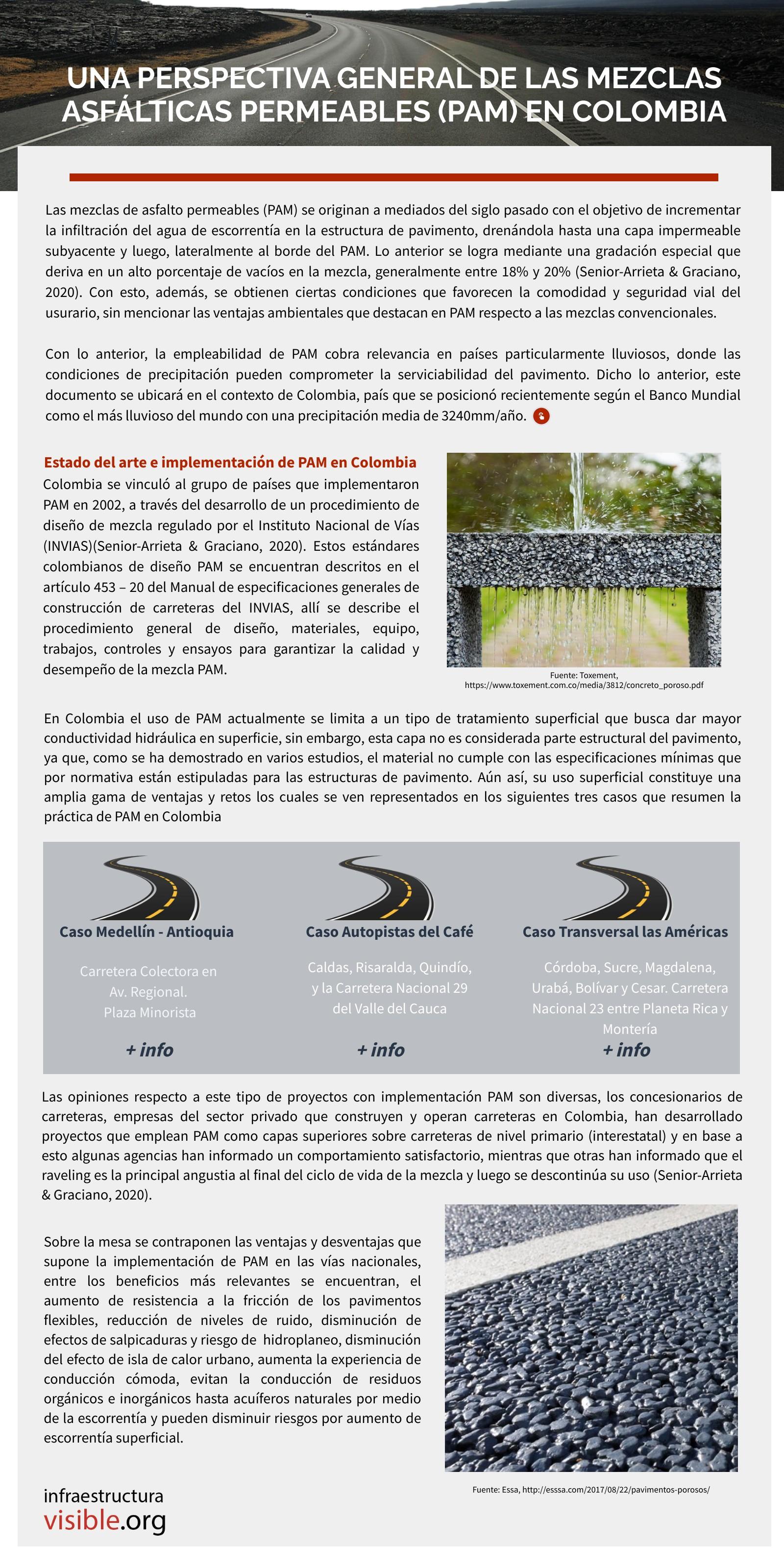 Una perspectiva general de las mezclas asfálticas permeables (PAM) en Colombia