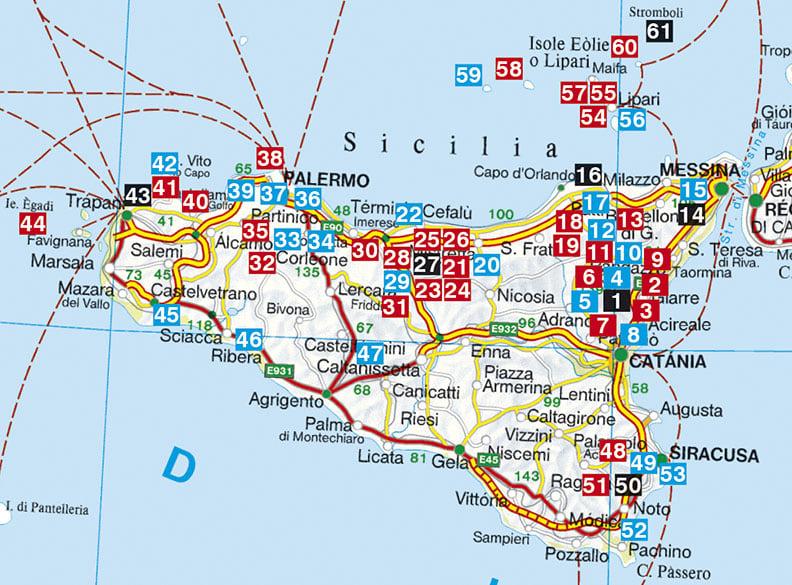 Carte des randonnées en Sicile