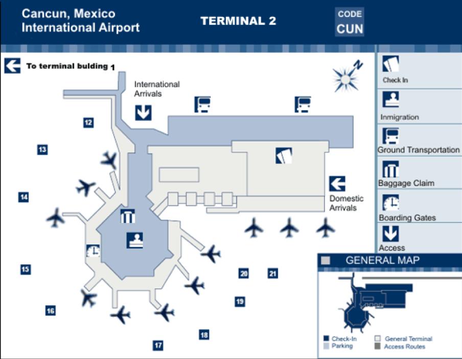 Cancun International Airport - Terminal 2 Map