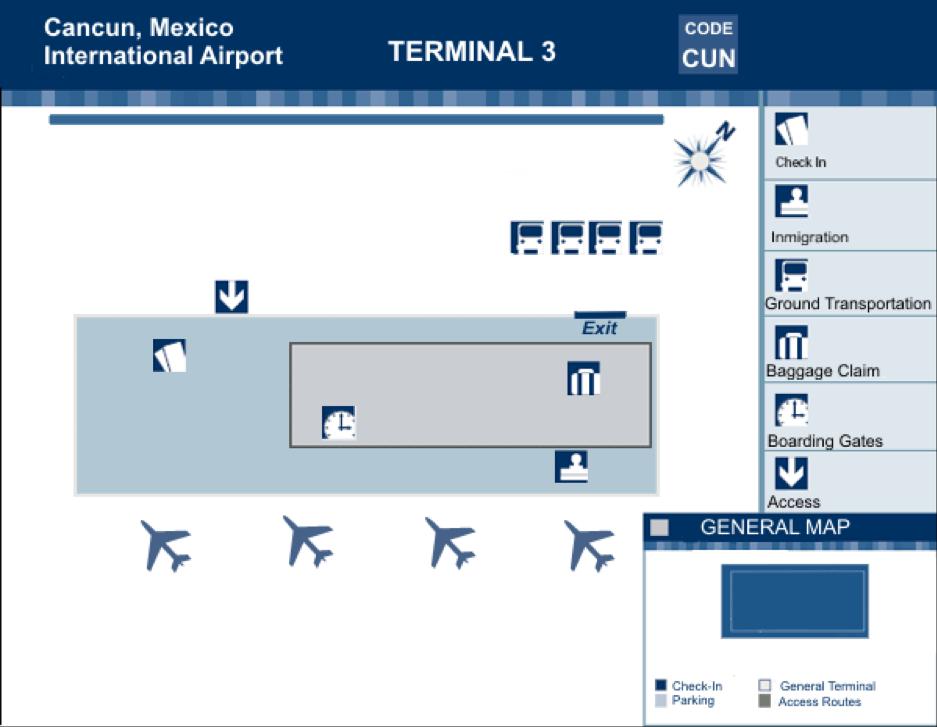 Cancun International Airport - Terminal 3 Map