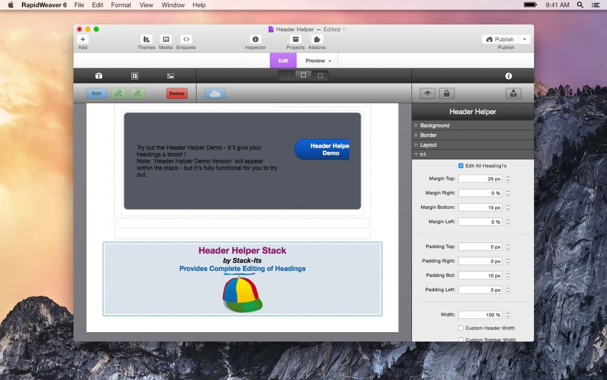 Header Helper screenshot