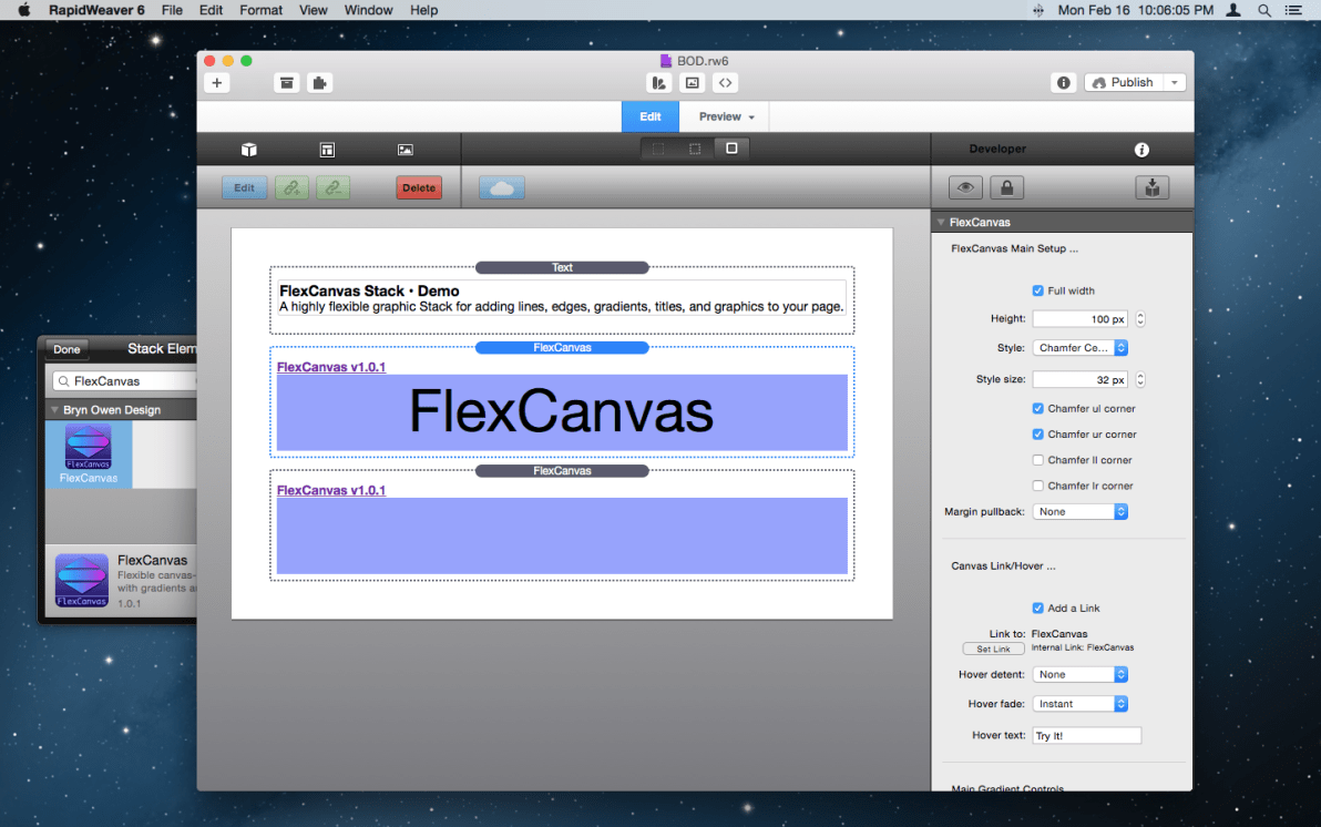 FlexCanvas Stack screenshot