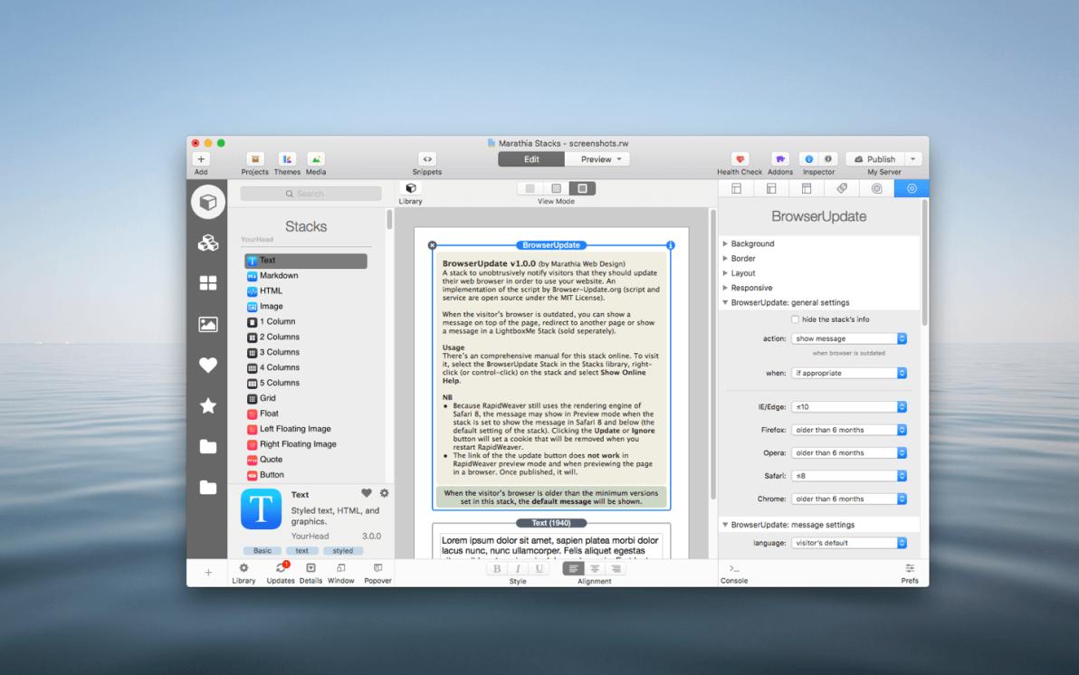 BrowserUpdate Stack screenshot