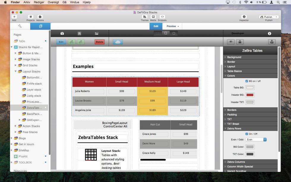 ZebraTables Stack screenshot