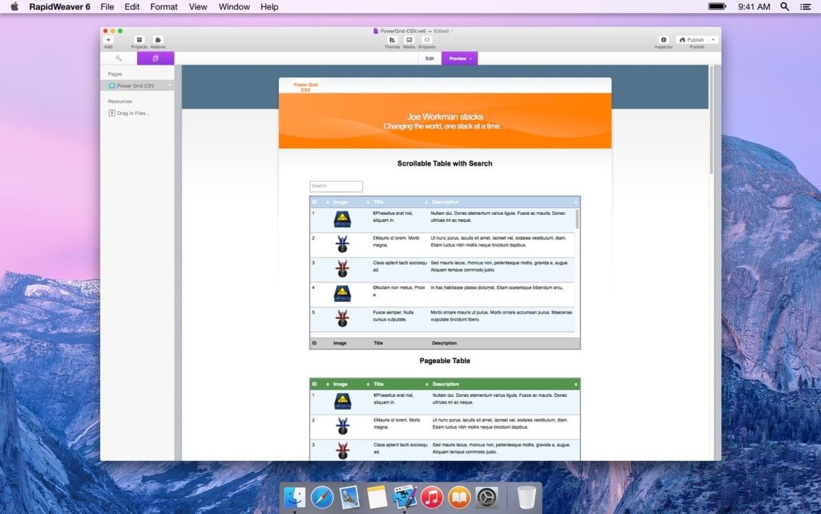 Power Grid CSV screenshot