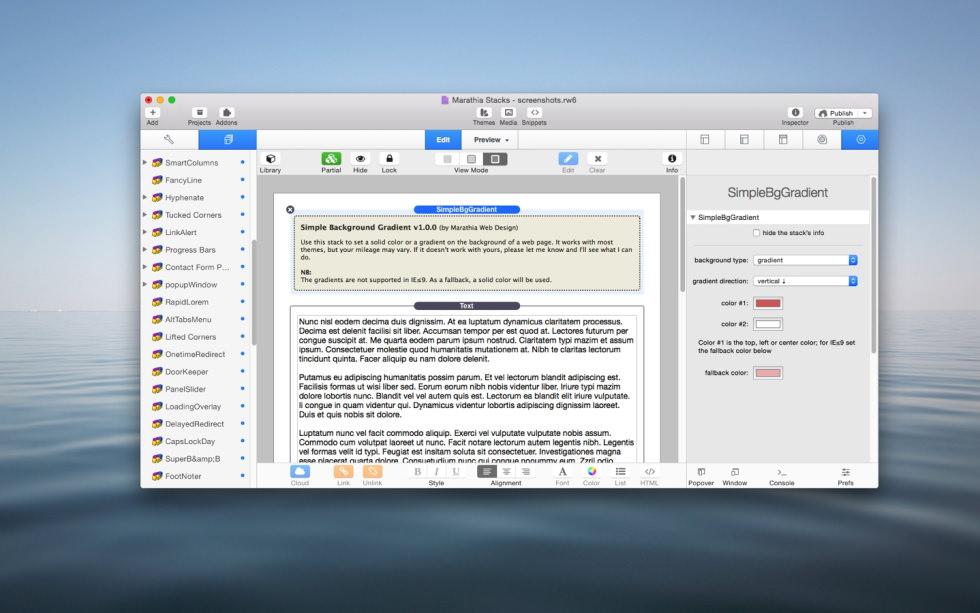 Simple Background Gradient stack screenshot