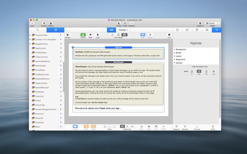 Keyhole Stack screenshot