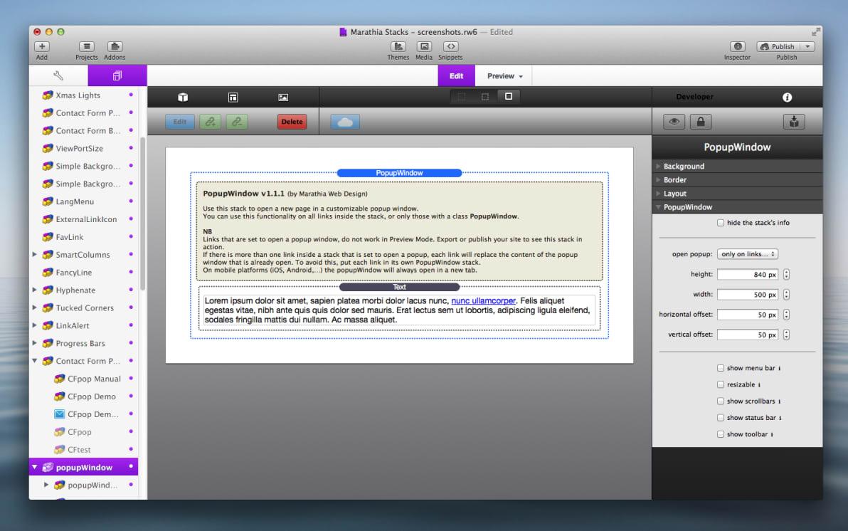 PopupWindow Stack screenshot