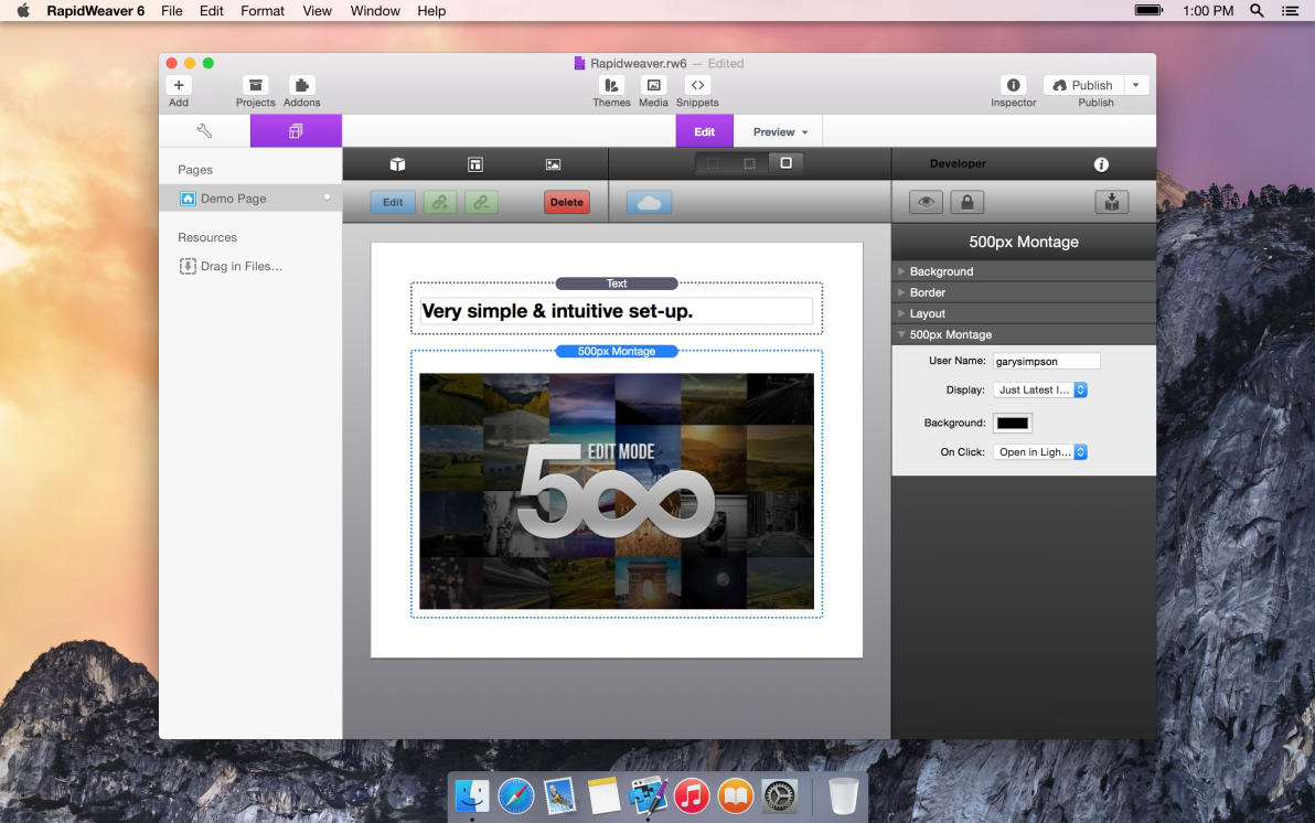 500px Montage screenshot