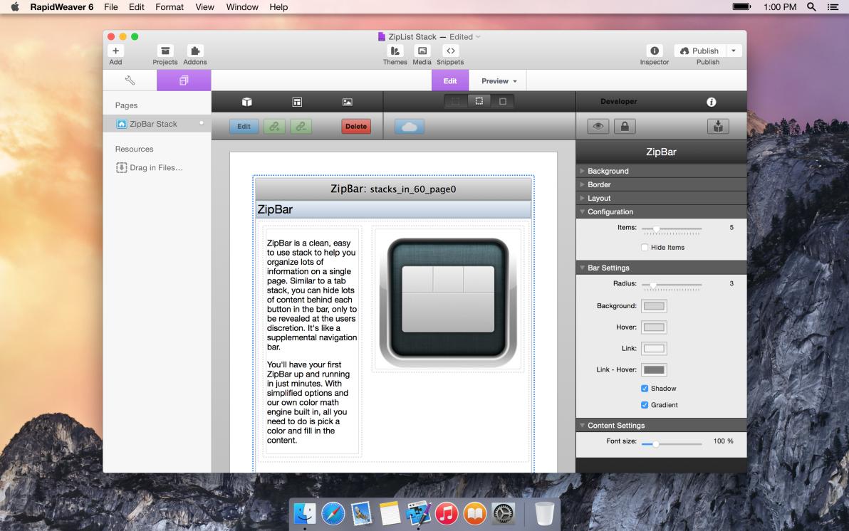 seyDesign ZipBar screenshot