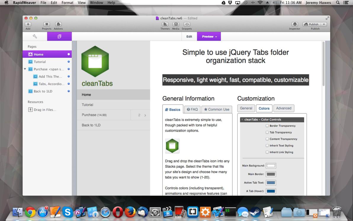 cleanTabs screenshot