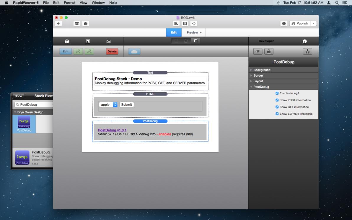 PostDebug Stack screenshot