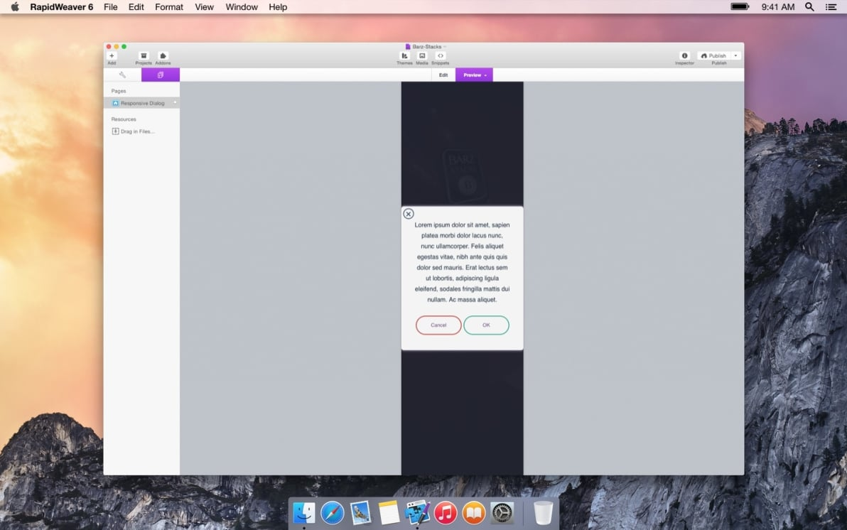 Responsive Dialog screenshot