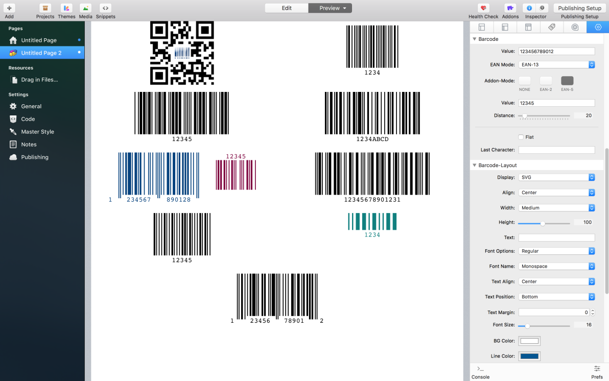 Barcode screenshot