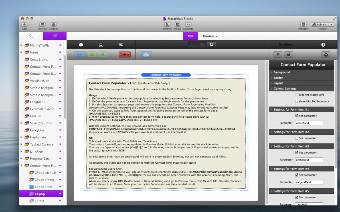 Contact Form Populator Stack screenshot