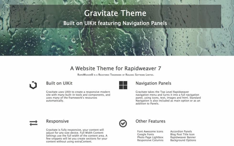Gravitate Theme RapidWeaver Theme by Mouserworks