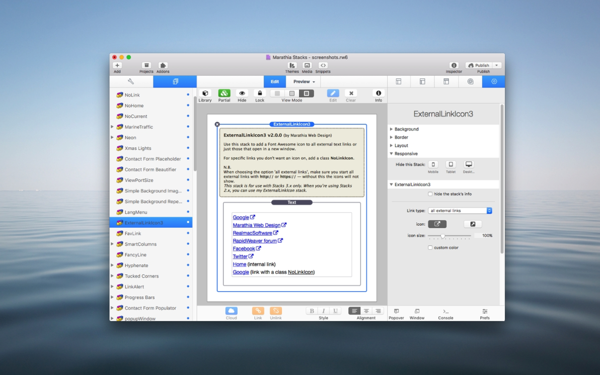 ExternalLinkIcon Stack screenshot