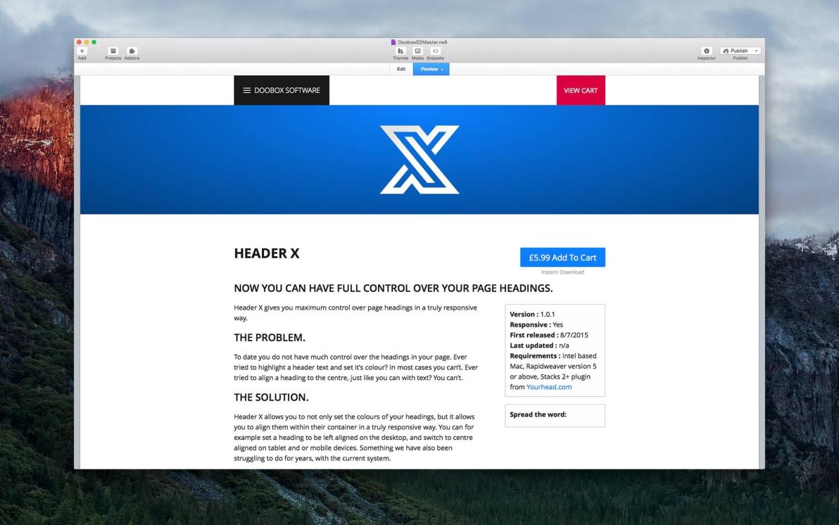 Header X screenshot