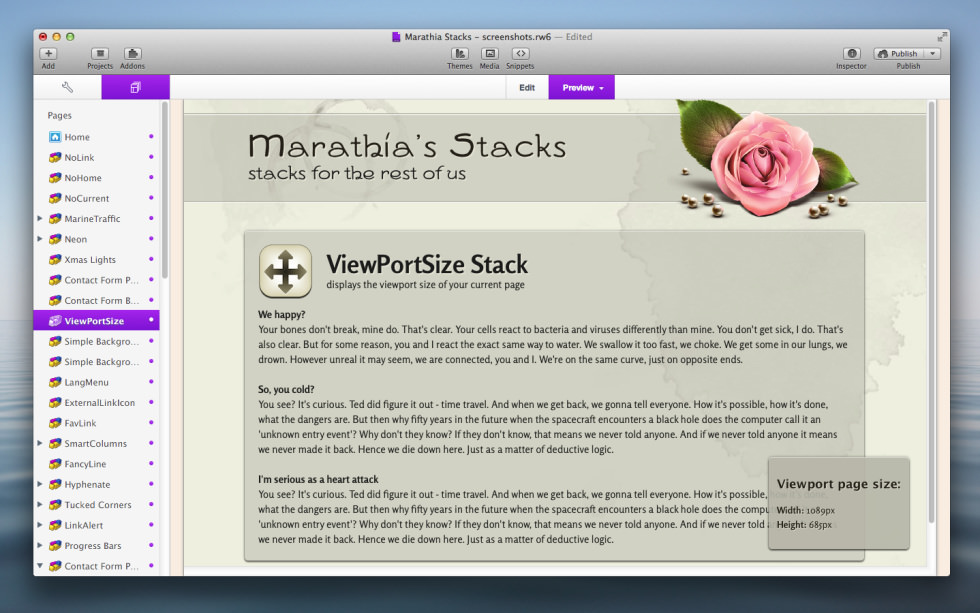 ViewPortSize Stack screenshot