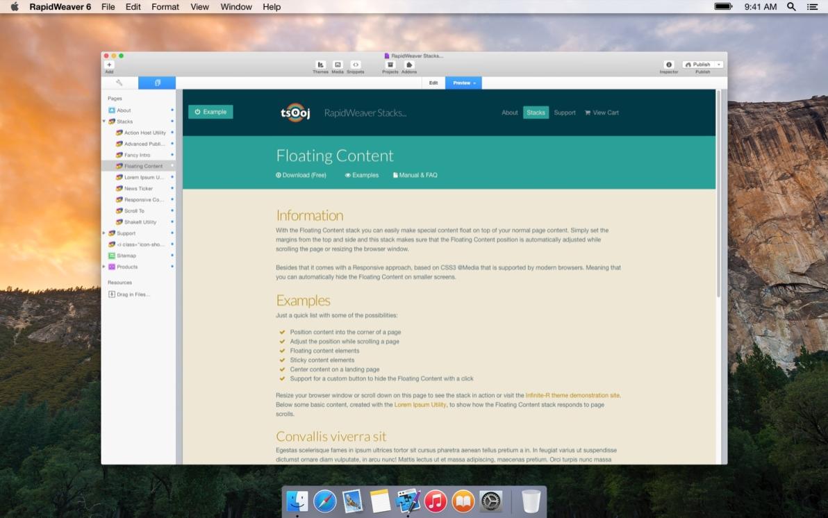 Floating Content screenshot