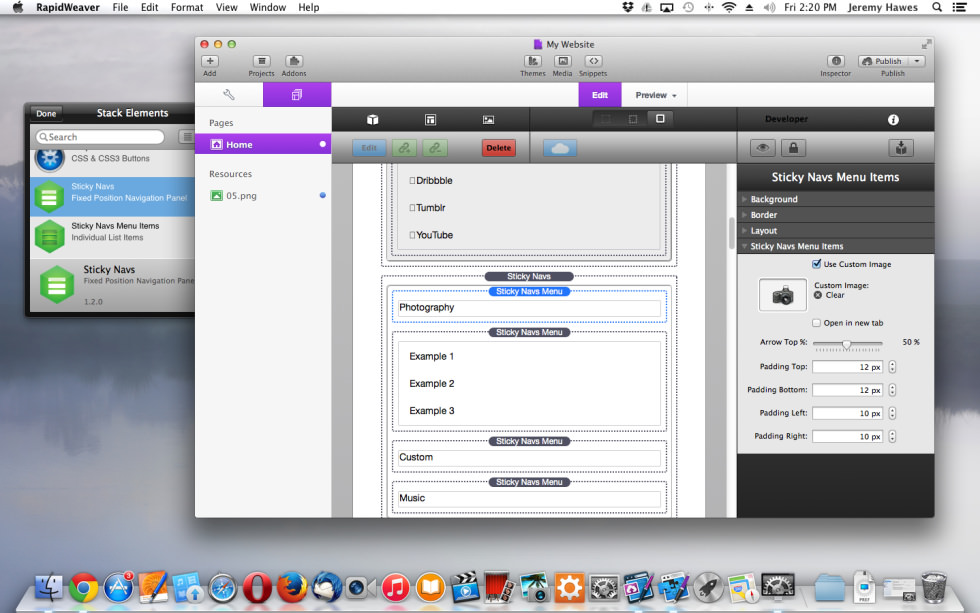 Sticky Navs screenshot