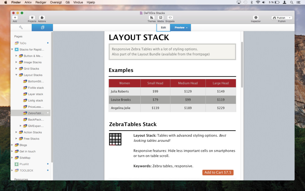 ZebraTables Stack screenshot