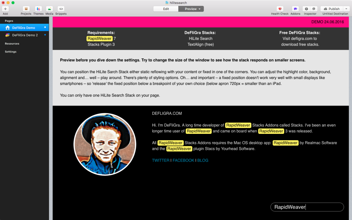 HiLite Search Stack screenshot