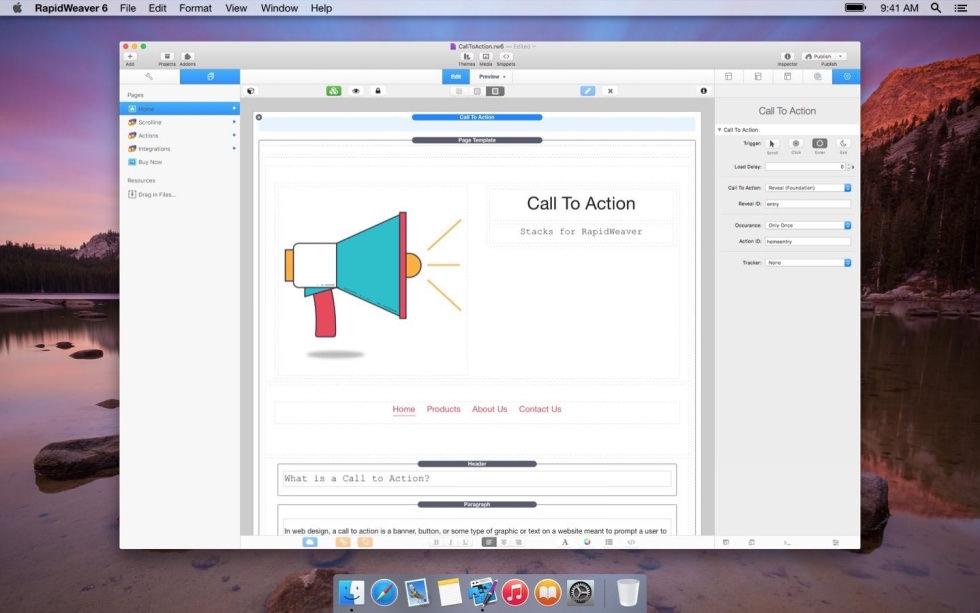 Call to Action screenshot
