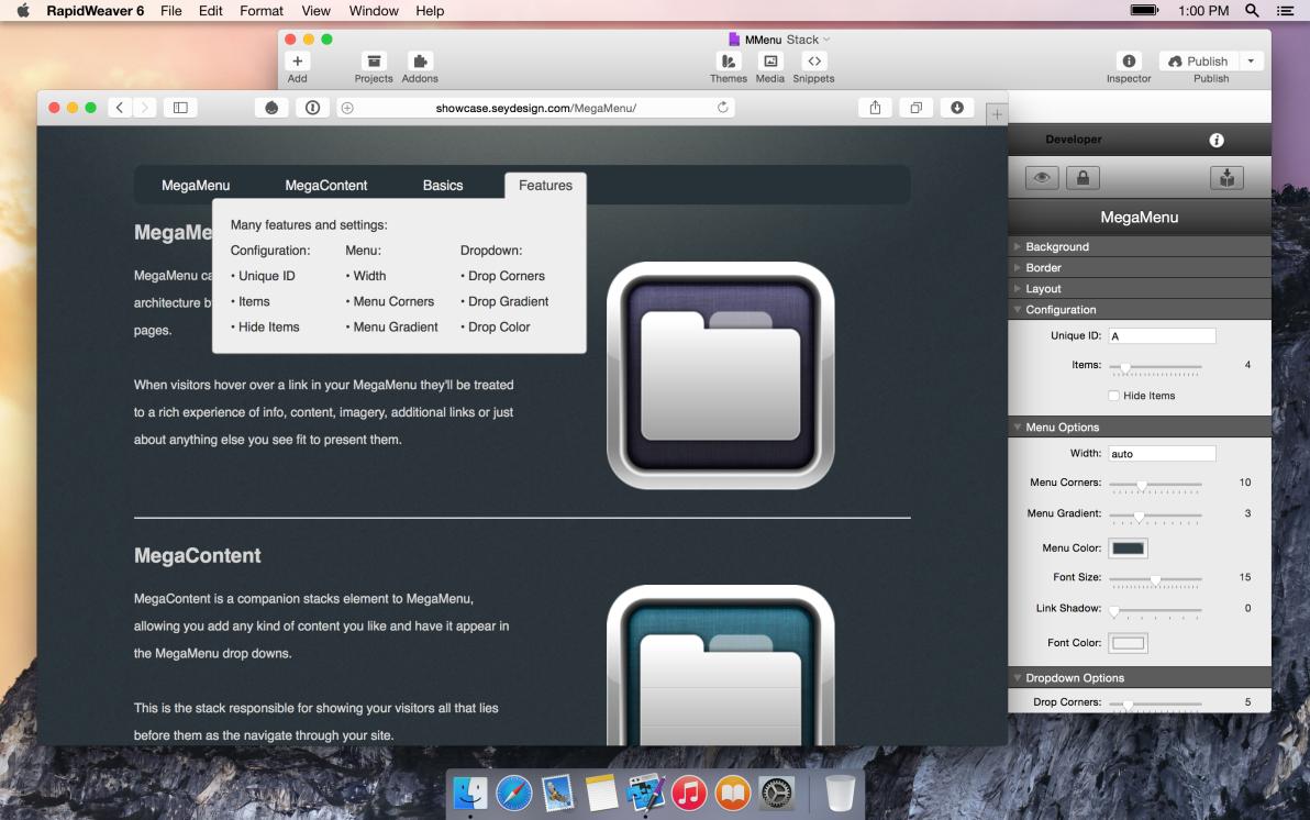 seyDesign MegaMenu screenshot