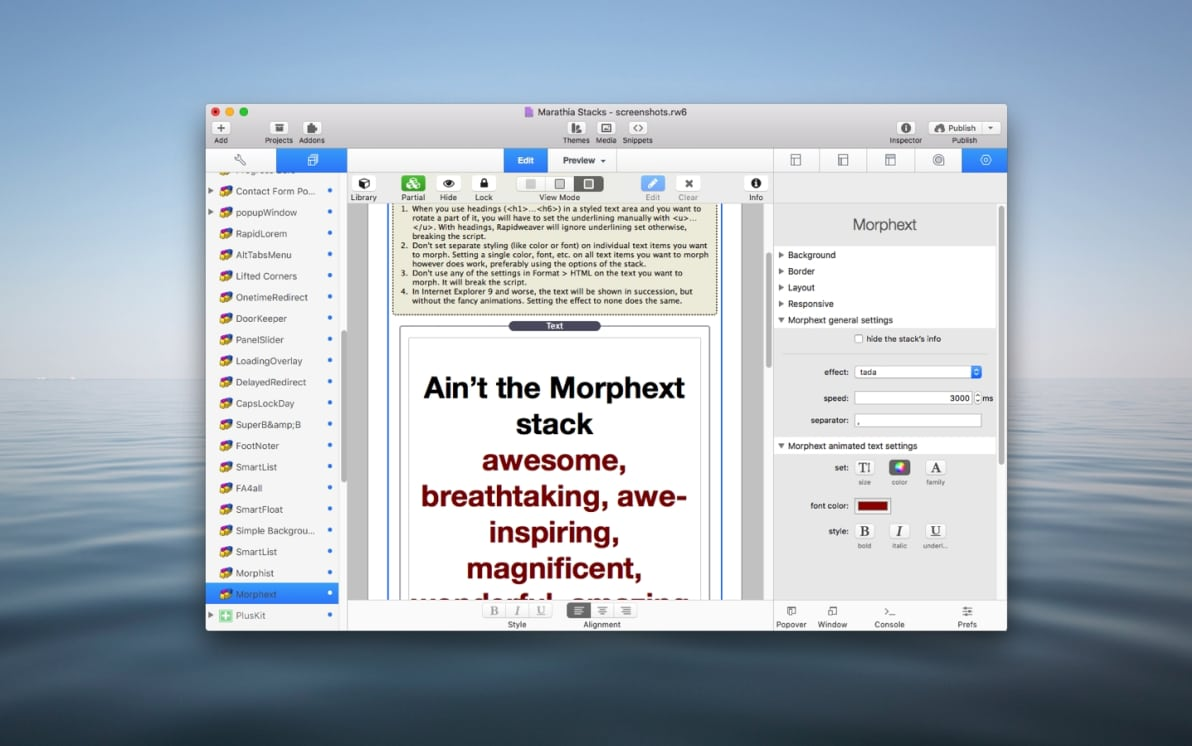 Morphext Stack screenshot