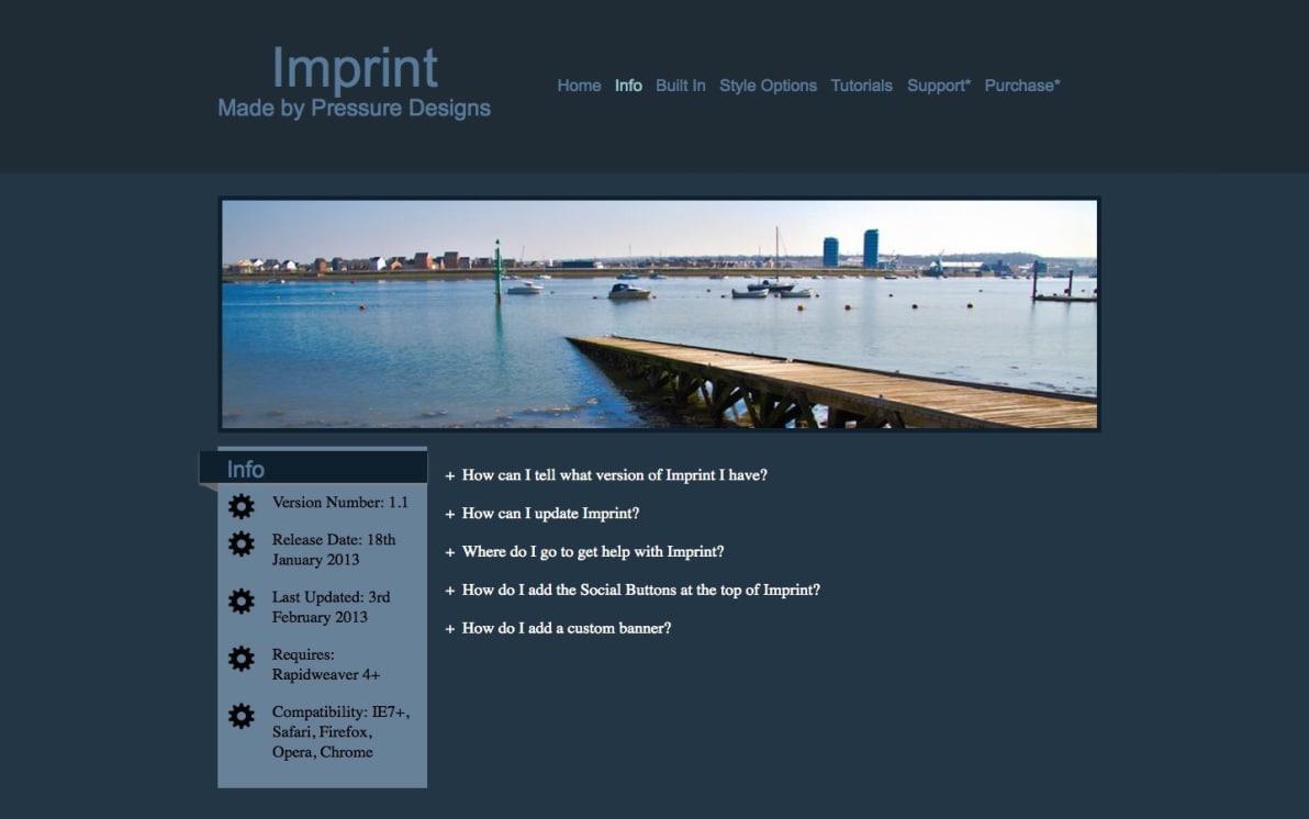 Imprint screenshot