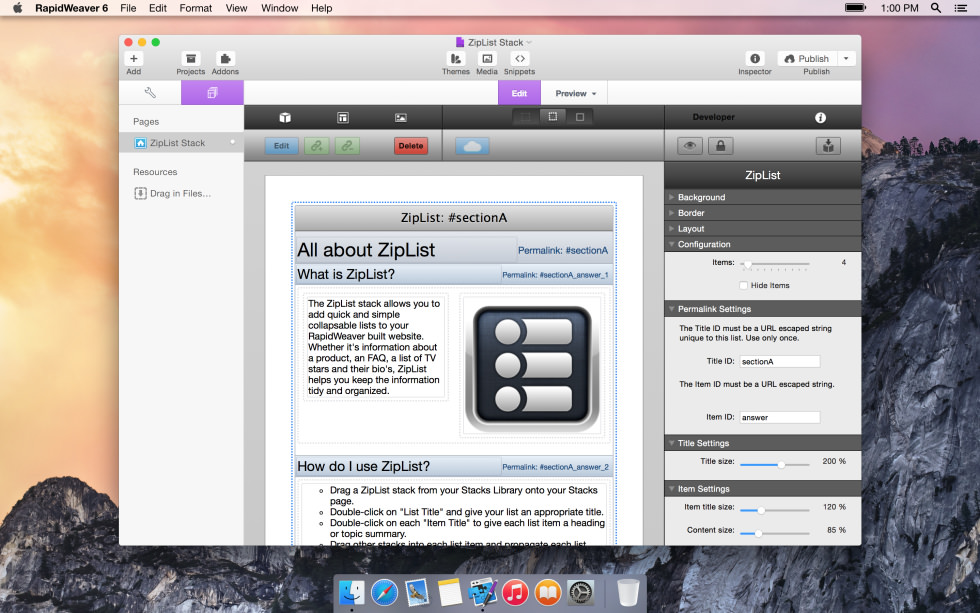 seyDesign ZipList screenshot